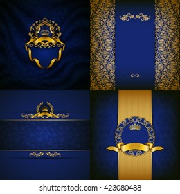 Set of luxury ornate backgrounds in vintage style. Elegant frame with floral elements, filigree ornament, gold crown, shield, ribbons, place for text on blue drapery fabric. Vector illustration EPS10
