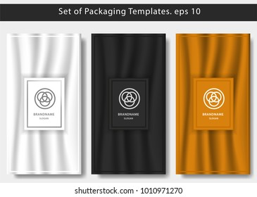 set of luxury packaging template with smooth color background