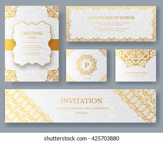 Set of Luxury ramadan Gold artistic pages with logo brochure template. Vintage art identity,  floral, magazine. Traditional, Islam, arabic, indian. Decorative retro greeting card or invitation design