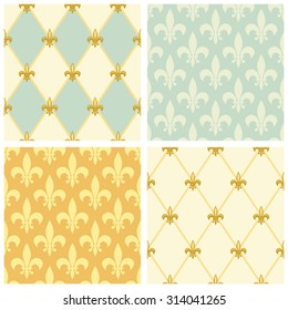 Set of luxury seamless patterns with vintage fleur de lis and diamond shape grid background, ideal for curtains textile or bed linen fabric or interior wallpaper design etc