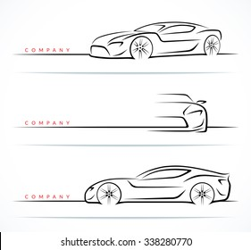 Set of luxury sports car silhouettes isolated on white background. Front, 3/4 and side views. Vector illustration