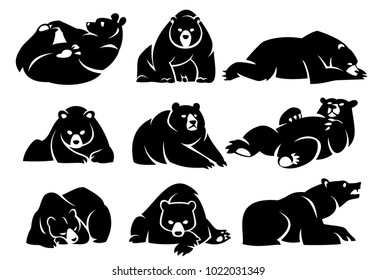 Set lying bears. Black silhouette. Isolated on a white background.