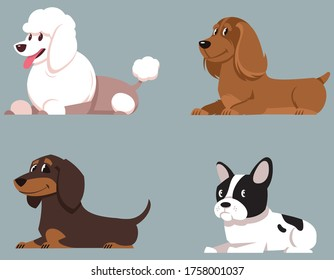 Set of lying dogs. Poodle, Cocker Spaniel, Dachshund and French Bulldog in cartoon style.