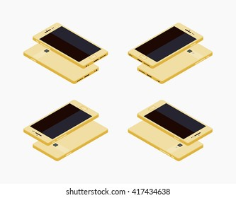 Set of the lying isometric generic golden smartphones. The objects are isolated against the white background and shown from different sides