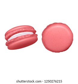 Set of macaroons on white background with groups of two almond cakes of different colour vector illustration