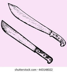 set machete knife doodle style sketch illustration hand drawn vector