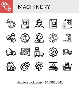 Set of machinery icons such as Gear, Worker, Engineer, Blueprint, Gears, Industry, Dumper, Rubber land, Conveyor, Cogwheel, Crane truck, Robot arm, Machinery , machinery