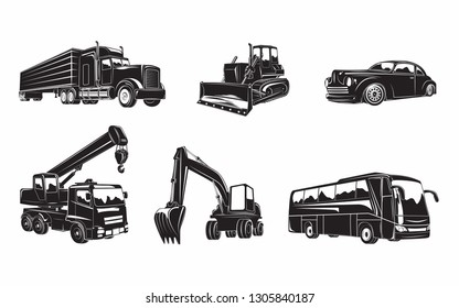 Set of  machines. building Excavator and bulldozer, heavy truck and auto crane, excursion bus and hot rod. monochrome  icons of machines isolated on white background, vector