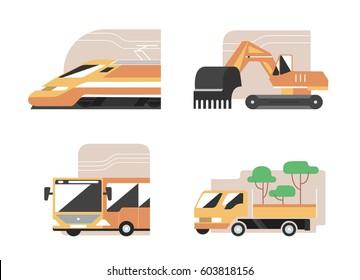 Set of machines. High speed train, excavator, public bus, gardening pickup. Flat style vector icons, municipal technics signs