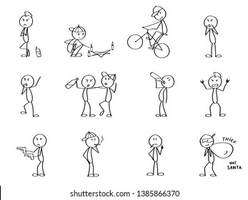 Set of mad crazy stick men, smoking, drinking and being reckless. Bikers and punks, rule breakers. Funny cute characters for a presentation, website or info graphics design.