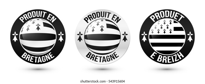 """Set of """"Made in Brittany"""" labels vector templates with signs in French and Breton languages"""