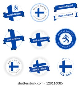 Set of Made in Finland labels and ribbons