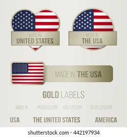 Set of made in labels with american motive, collection of golden tags for products