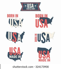 Set of Made in the USA  vector logo