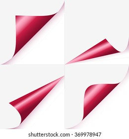 Set of magenta curled corners of page