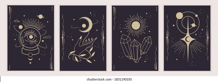 Set of magic and astrological symbols. Mystical signs, silhouettes, zodiac signs, tarot cards. Vector illustration. Witchcraft art. Stickers, banner, decorations. Esoteric aesthetics. Hand drawn.