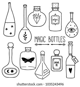 Set of magic cartoon bottles and love potions. Monochrome vector illustration. Magic elixir hand drawn collection