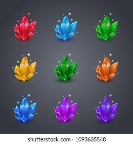 Set of magic colorful crystals with sparkle. Collection of decoration icons for games. Set of cartoon crystals. Vector illustration. Stone healing energy.