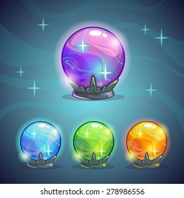 Set of magic crystal balls, fairy vector illustration