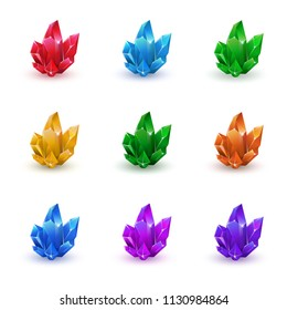 Set of magic crystals. Crystals collection on isolated white background vector illustration. Stone healing energy. Amethyst, topaz, citrine, rose quartz, kyanite, ruby, green gemstone.