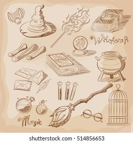 Set of Magic elements. Things magician: wizard, hat, magic book, roll, potion, broom, crystal ball. Vector illustration. Object for app, web, book illustration, decorating.