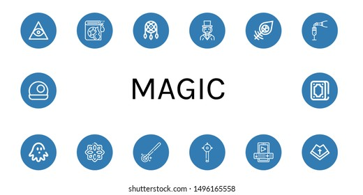 Set of magic icons such as Freemasonry, Spell book, Dreamcatcher, Magician, Champagne, Haunted house, Rune, Magic wand, Mace, Entertainment, Mantle, Crystal ball, Fortunetelling , magic