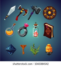 Set of magic items for computer fantasy game. Isolated cartoon icons set.