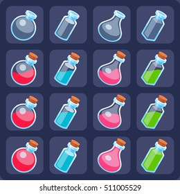 Set of magic potion icons. Fully customizable bottles for games.
