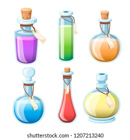 Set of magic potions. Bottles with colorful liquid. Game icon of magic elixir. Purple potion flat icon. Mana, health, poison or magic elixir. Vector illustration isolated on white background.