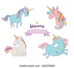 Set of magic unicorns - cute hand drawn icons