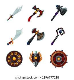 Set of magic wepon isolated on white backgroung. Fantasy game design icon set.