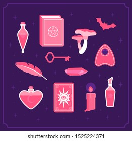 Set for magic witches. Book of witchcraft, candle, crystal, key, tarot cards, bat and bottles with potion and poison. Halloween holiday. Flat vector illustration.