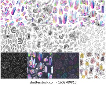 Set of magical seamless patterns with multicolored crystals gem stones, leafs, moths, roses, terrariums. Colored, black and white backgrounds. Vector illustration.
