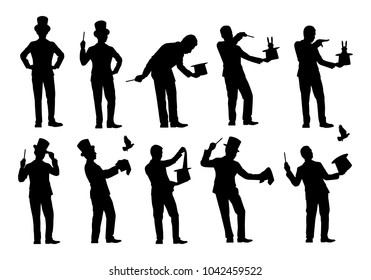 Set of magician silhouette vector