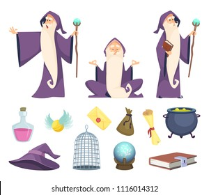 Set of magician tools and male wizard character. Vector pictures isolated on white background. Illustration of wizard magic, mystery character
