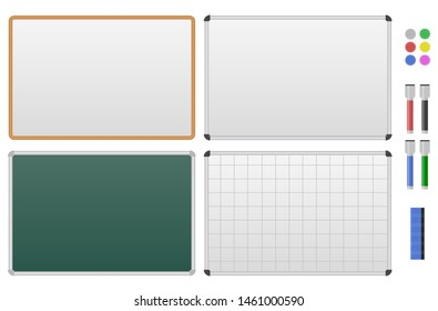 Set of magnetic marker boards. Blank white and green Board for drawing, presentation, to-do list. Isolated on white background. Vector illustration.