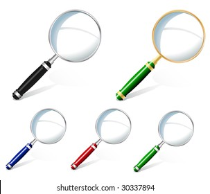 Set of magnifiers vector illustration (no meshes)