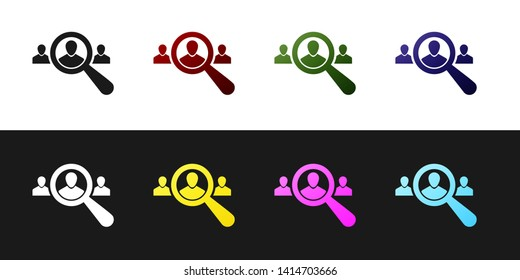Set Magnifying glass for search a people icon isolated on black and white background. Recruitment or selection concept. Search for employees and job, human resource. Vector Illustration
