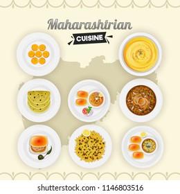 Set of Maharashtrian cusine on yellow state map background.