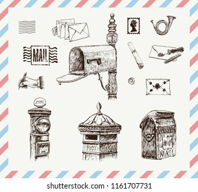 Set of mail boxes, letters, postal letterbox. Letter with sealing wax, postage stamps. Writing hand and post horn. Hand drawn vector vintage illustration