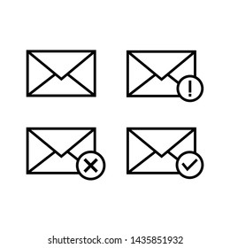 set of mail message icon vector symbol