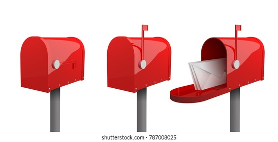 A set of mailboxes with a closed door, a raised flag, with an open door and letters inside. 3d illustration of red mailbox with envelope, isolated on white background. Realistic vector illustration.