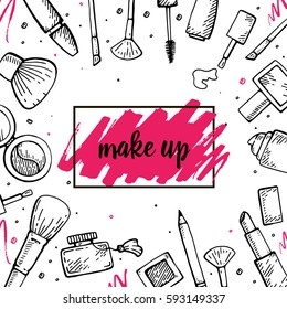 Set of make up hand drawn doodle icons vector isolated
