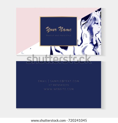 Set Makeup Artist And Hair Stylist Business Cards Template Elegant Vector With