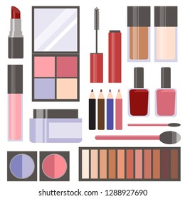 Set of makeup and beauty vector icons with red, pink, and blue color palette