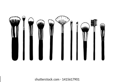 Set of makeup brushes. Hand drawn vector illustration