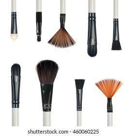 Set of make-up brushes isolated on white background, vector