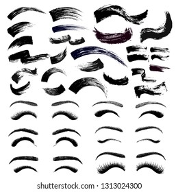 Set of make-up cosmetic mascara brush stroke texture design. False eyelashes and eyebrows. Realistic mascara smear template. Mascara eyelashes. Hand drawn lash scribble swatch. Vector illustration.