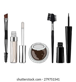 set of makeup for the eyes - eye shadow, brush with a comb, liquid eyeliner, eye balm. vector illustration for your design, cosmetic banners, brochures and promotional items.