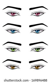 Set Male Anime Style Eyes Different Stock Vector Royalty Free